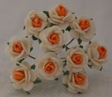 1 cm WHITE with ORANGE CENTER Mulberry Paper Roses